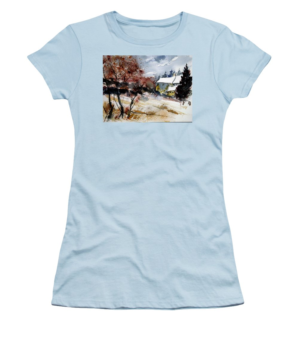 Winter Women's T-Shirt (Athletic Fit) featuring the painting Watercolor 251205 by Pol Ledent