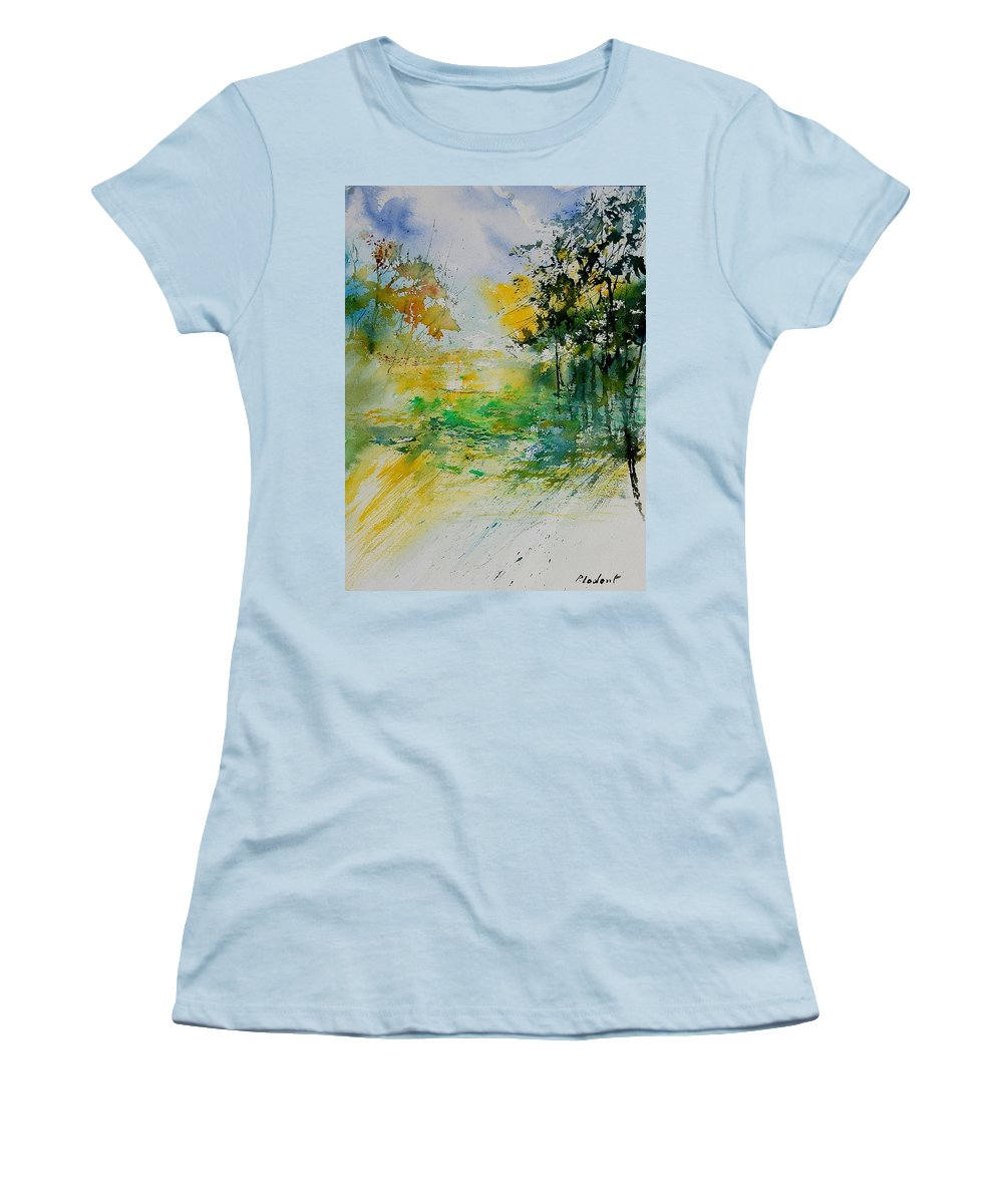 Water Women's T-Shirt (Athletic Fit) featuring the painting Watercolor 908051 by Pol Ledent