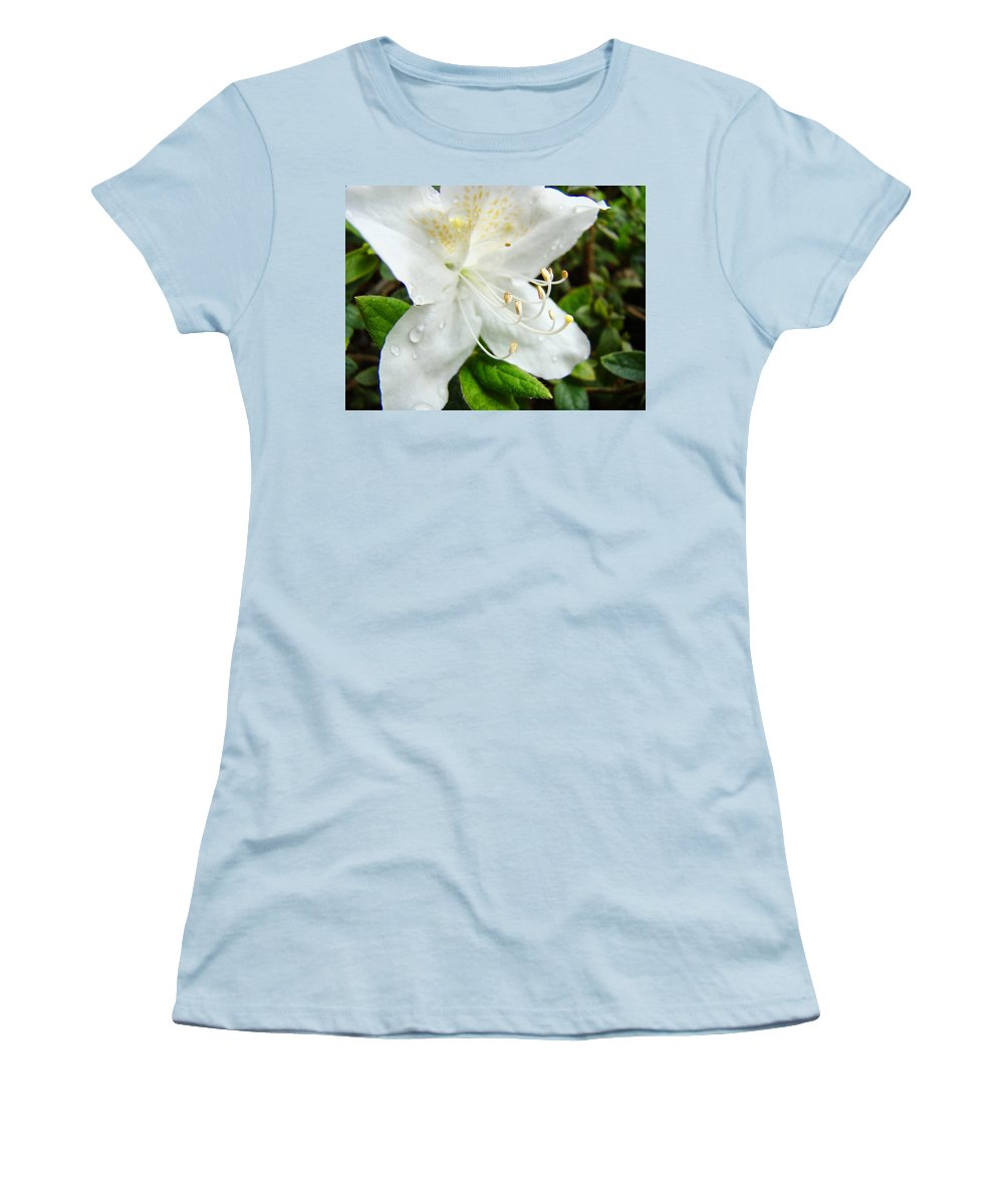 �azaleas Artwork� Women's T-Shirt (Athletic Fit) featuring the photograph White Azalea Flower 9 Azaleas Raindrops Spring Art Prints Baslee Troutman by Baslee Troutman