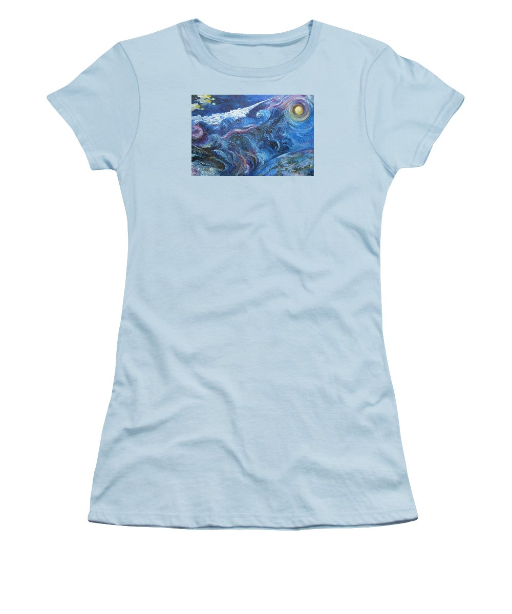 Baby Lambs Women's T-Shirt (Athletic Fit) featuring the painting White Baby Lambs Of Peaceful Nights by Karina Ishkhanova