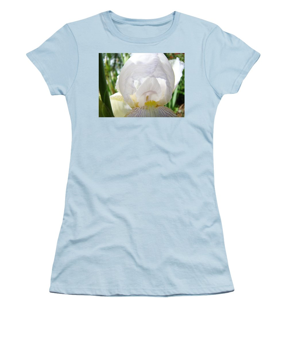 Iris Women's T-Shirt (Athletic Fit) featuring the photograph White Iris Flower Art Print Sunlit Irises Baslee Troutman by Baslee Troutman