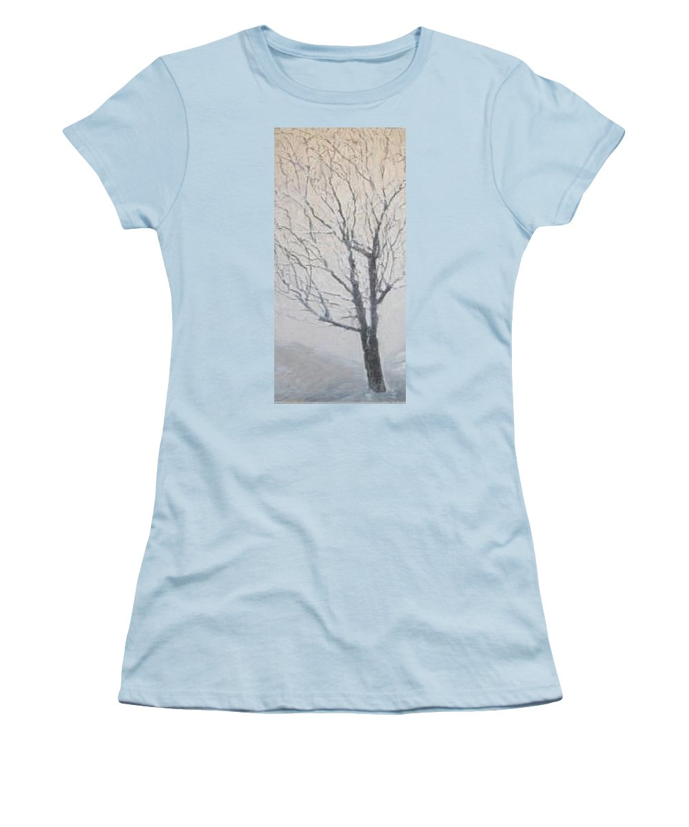 Tree Women's T-Shirt (Junior Cut) featuring the painting Winter by Leah Tomaino