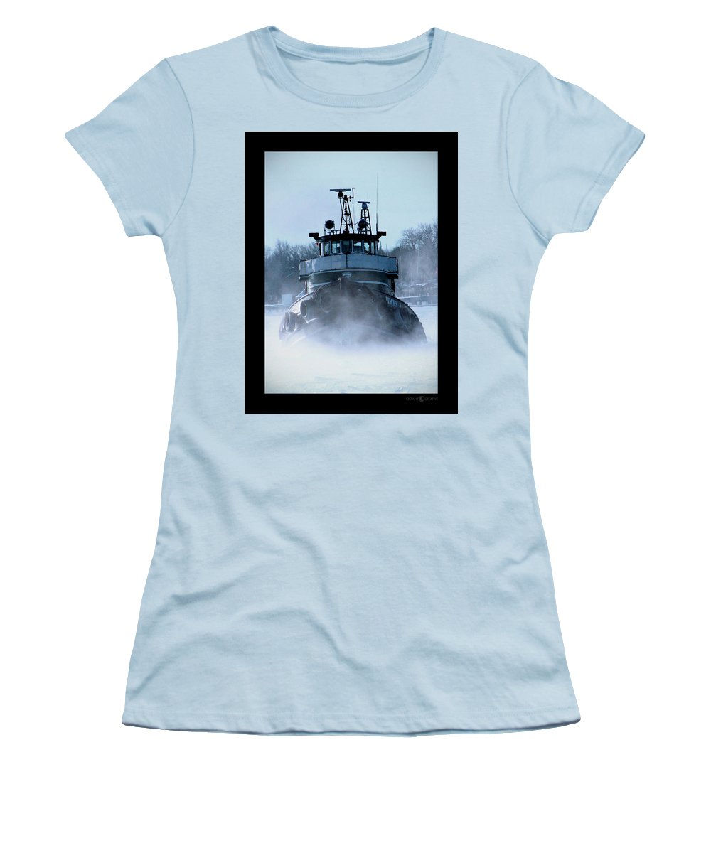 Tug Women's T-Shirt (Athletic Fit) featuring the photograph Winter Tug by Tim Nyberg