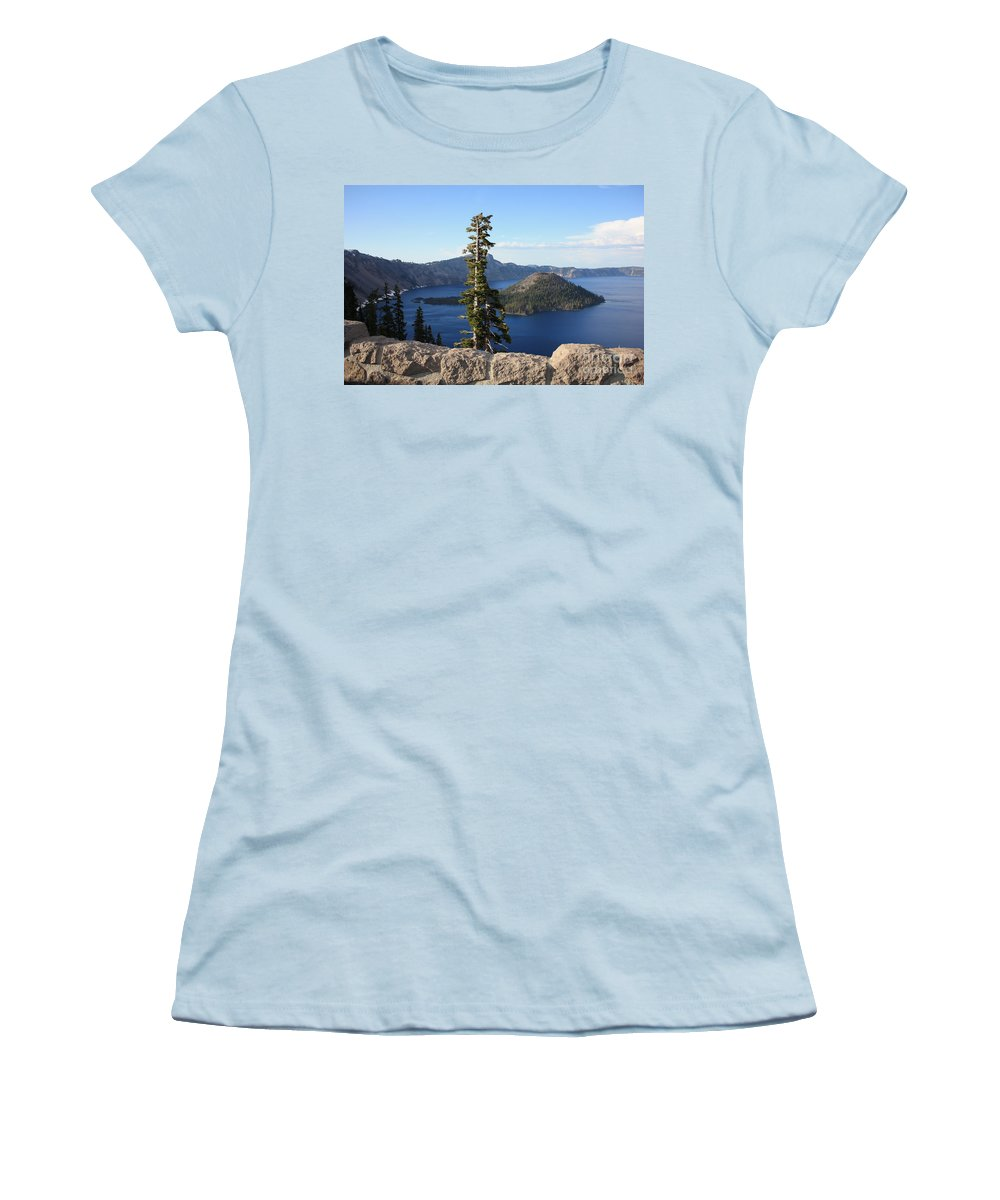 Wizard Island Women's T-Shirt (Athletic Fit) featuring the photograph Wizard Island With Rock Fence At Crater Lake by Carol Groenen