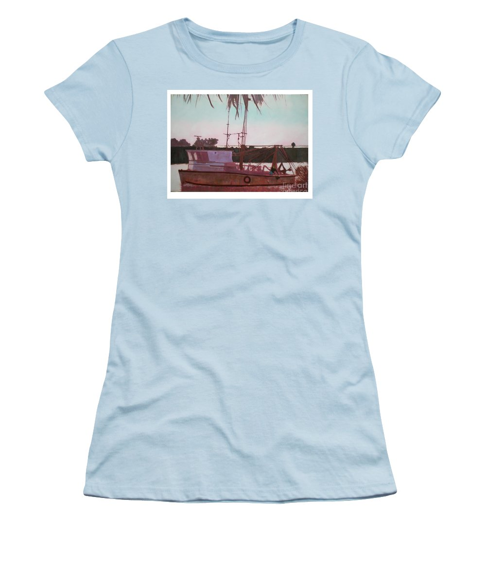 Seascape Women's T-Shirt (Athletic Fit) featuring the digital art Yankee Town Fishing Boat by Hal Newhouser