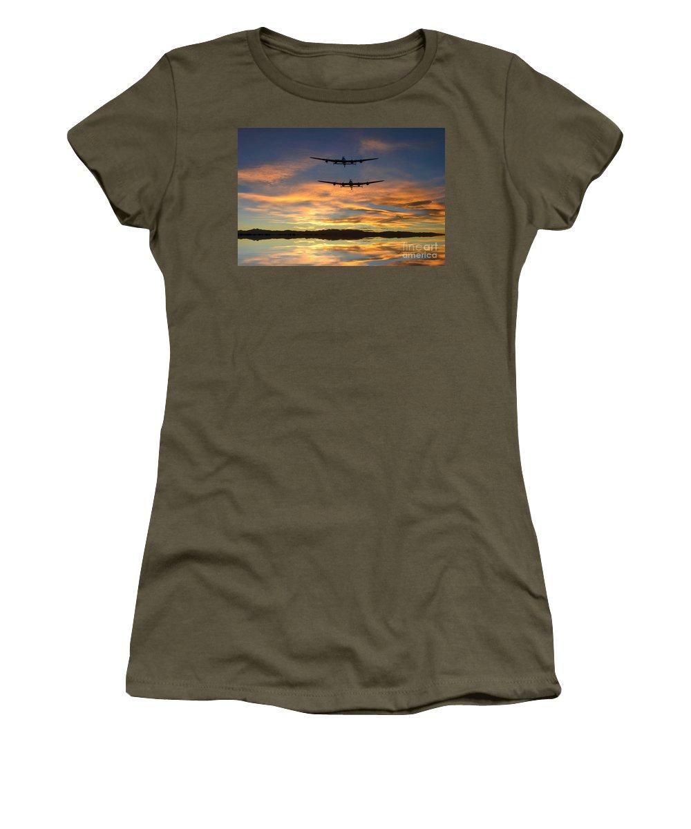 Avro Women's T-Shirt featuring the digital art Sunset Lancasters by J Biggadike