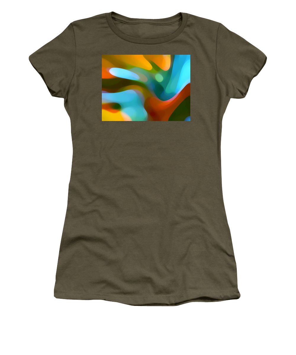 Abstract Women's T-Shirt featuring the painting Tree Light 1 by Amy Vangsgard