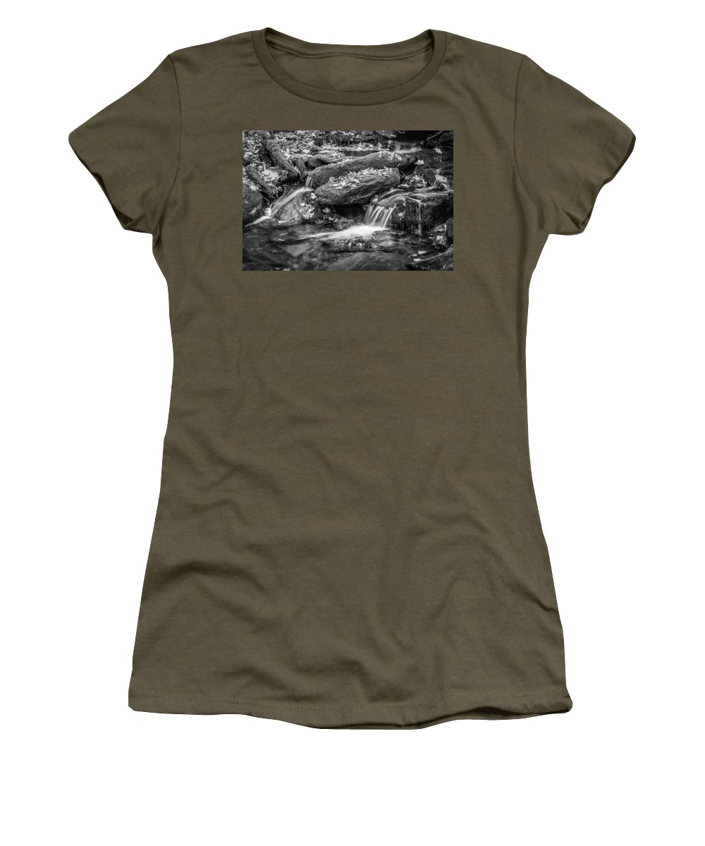 Waterfall Women's T-Shirt featuring the photograph Waterfall Great Smoky Mountains Painted Bw  by Rich Franco