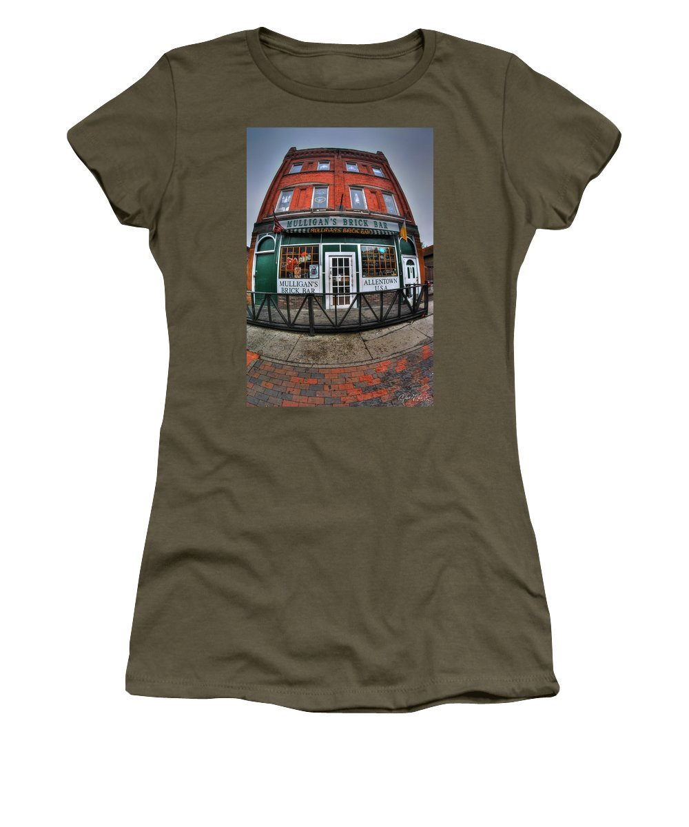 Allentown Women's T-Shirt featuring the photograph 002 Mulligans Brick Bar by Michael Frank Jr