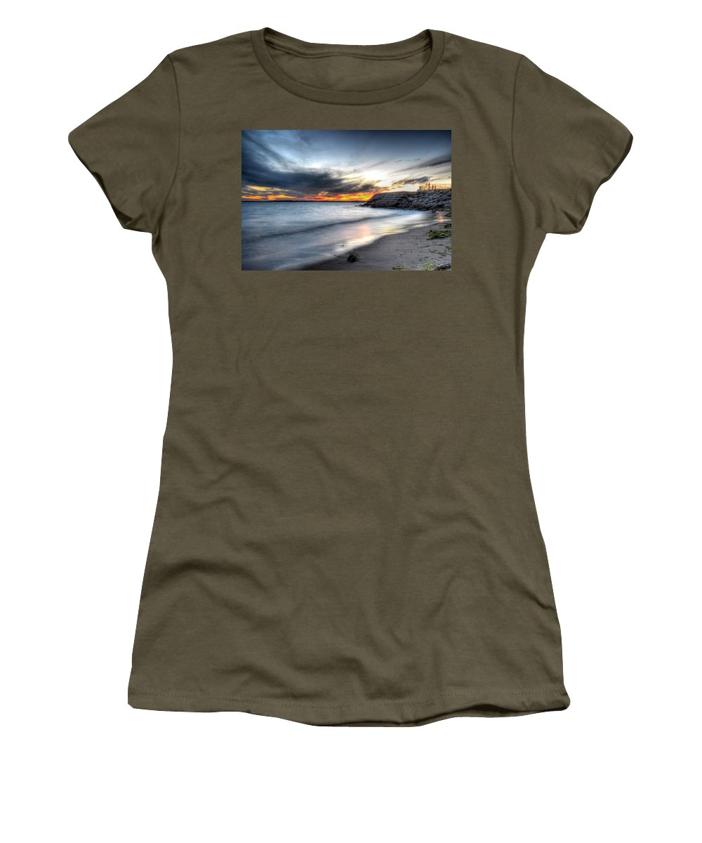 Sunset Women's T-Shirt (Athletic Fit) featuring the photograph 0020 Awe In One Sunset Series At Erie Basin Marina by Michael Frank Jr