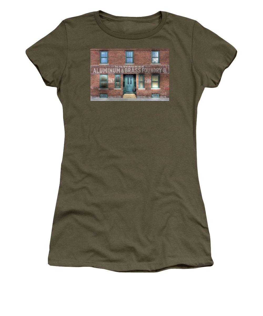 Aluminum Women's T-Shirt featuring the photograph 0044 Foundry Building by Steve Sturgill