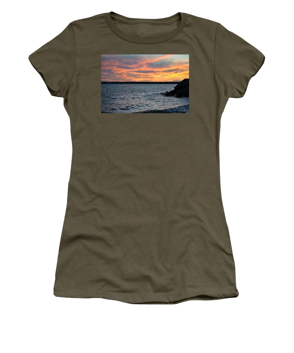Sunset Women's T-Shirt (Athletic Fit) featuring the photograph 008 Awe In One Sunset Series At Erie Basin Marina by Michael Frank Jr