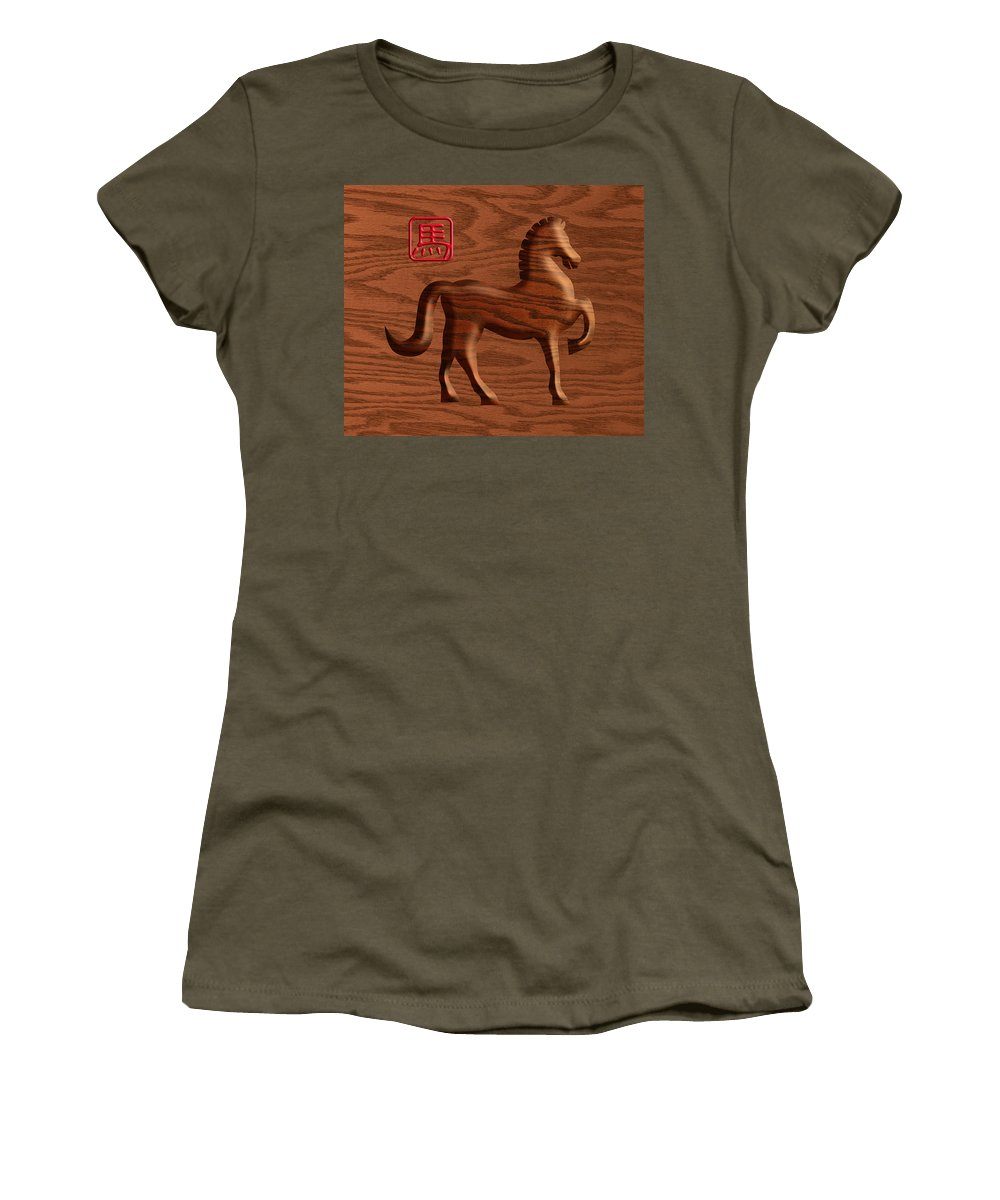 Chinese Women's T-Shirt featuring the photograph 2014 Chinese Wood Zodiac Horse Illustration by Jit Lim