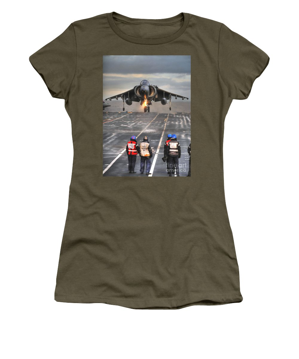 Naval Strike Wing Women's T-Shirt featuring the photograph A Gr9 Harrier by Paul Fearn