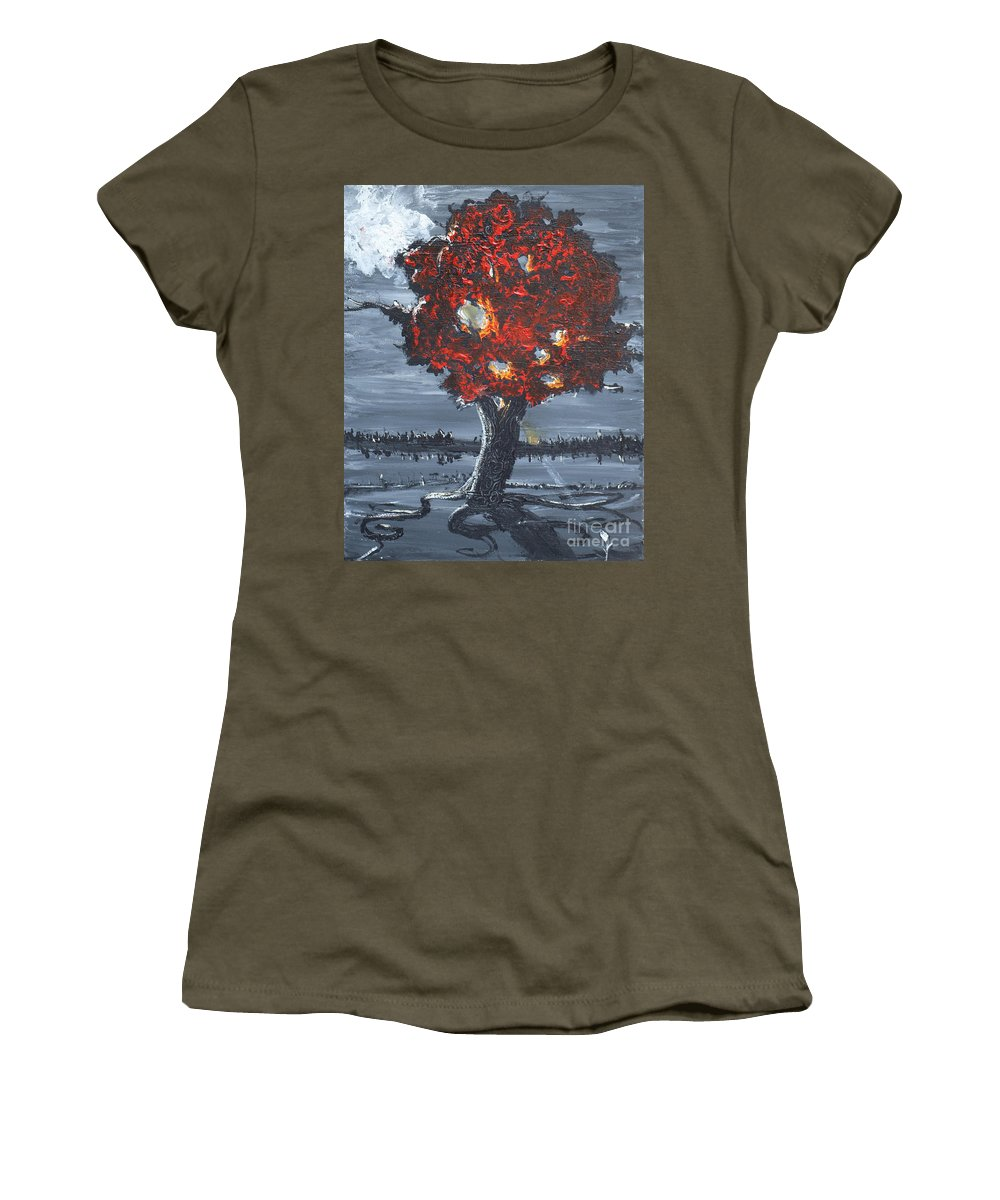 Landscape Women's T-Shirt featuring the painting A Ray Of Healing by Stefan Duncan