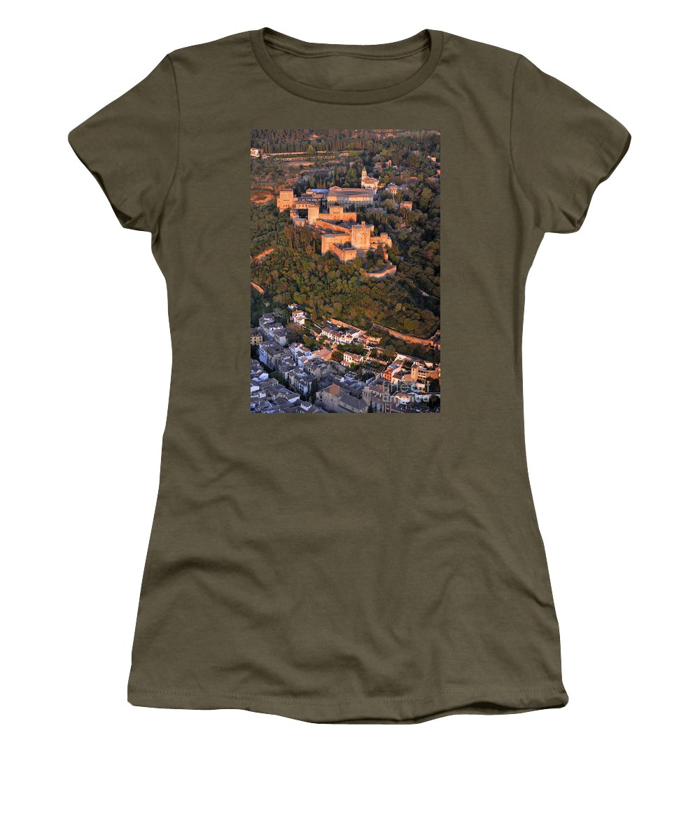 Alhambra Women's T-Shirt featuring the photograph Aerial Photo Alhambra And Albaycin In Granada by Guido Montanes Castillo