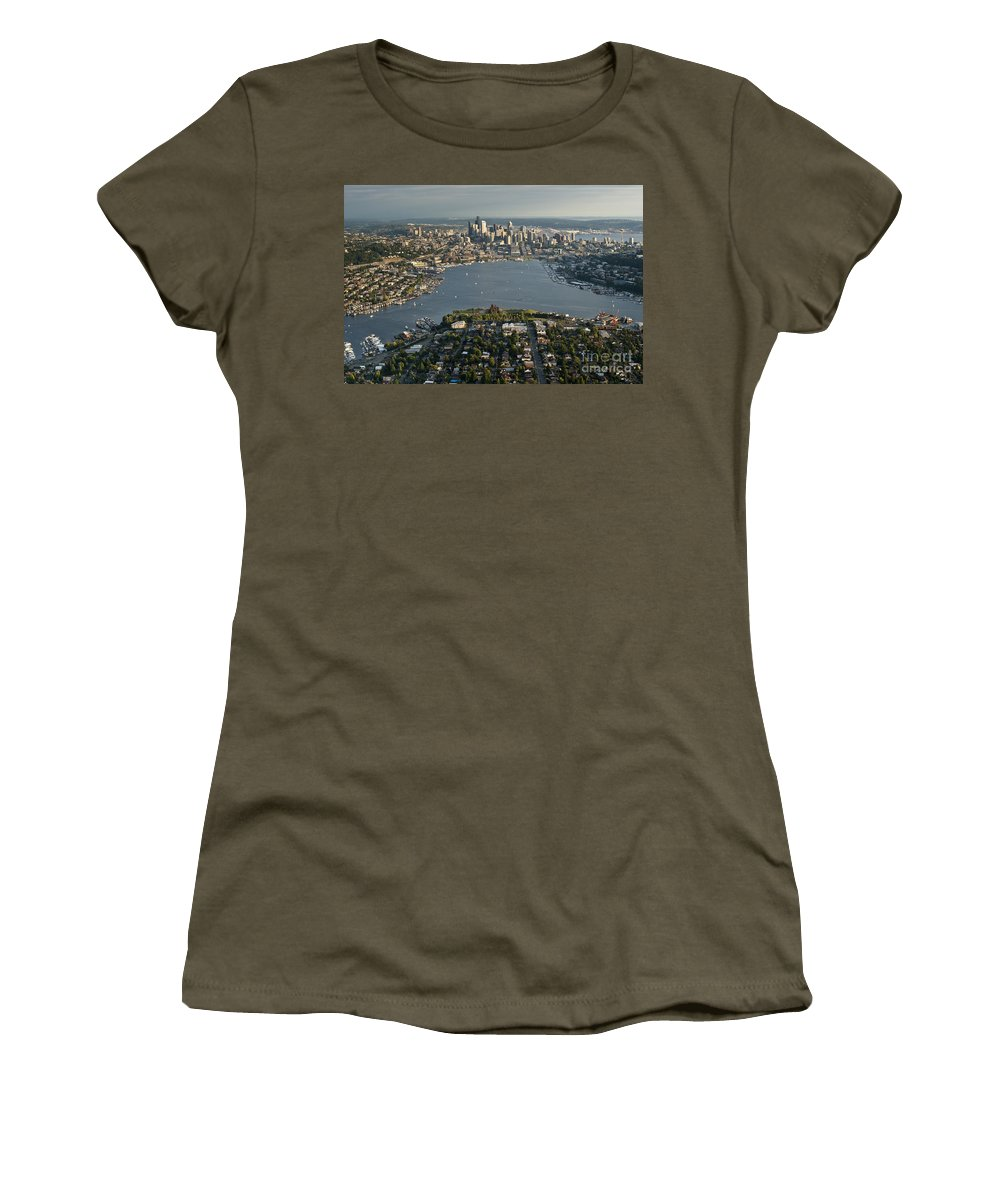 Elliott Bay Women's T-Shirt featuring the photograph Aerial View Of Seattle by Jim Corwin