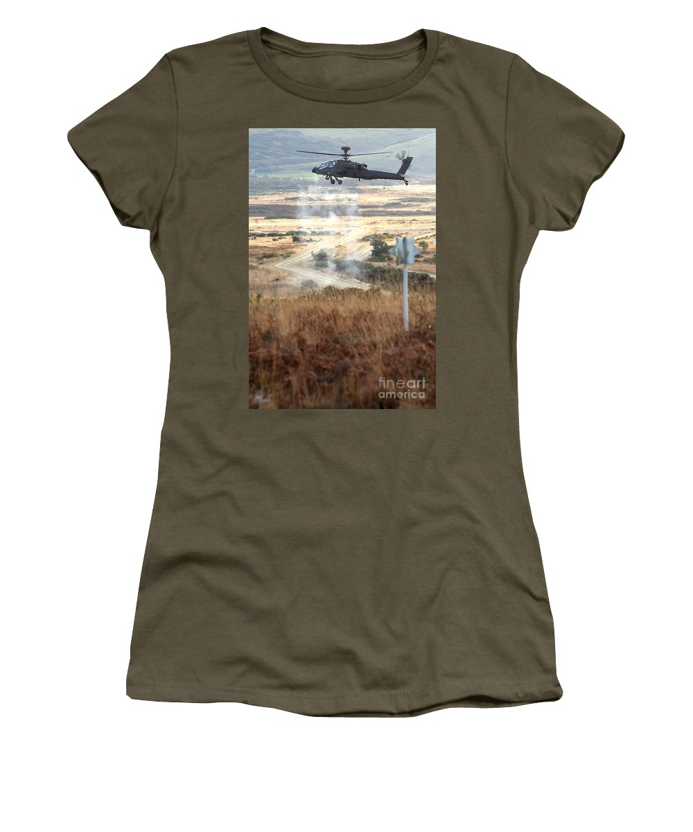 People Women's T-Shirt featuring the photograph Ah64d Apache Longbow Helicopters by Paul Fearn