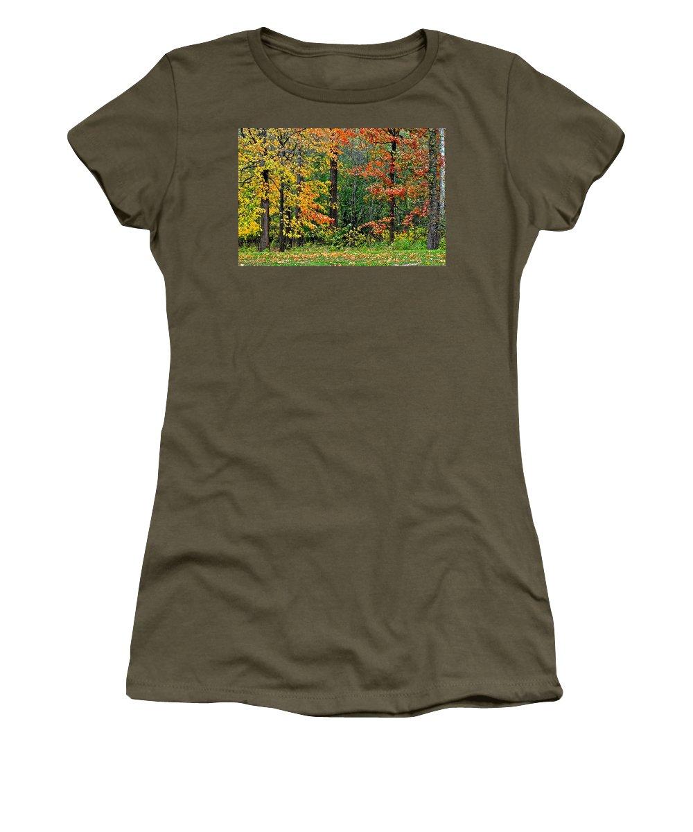 Autumn Women's T-Shirt featuring the photograph Autumn Landscape by Frozen in Time Fine Art Photography