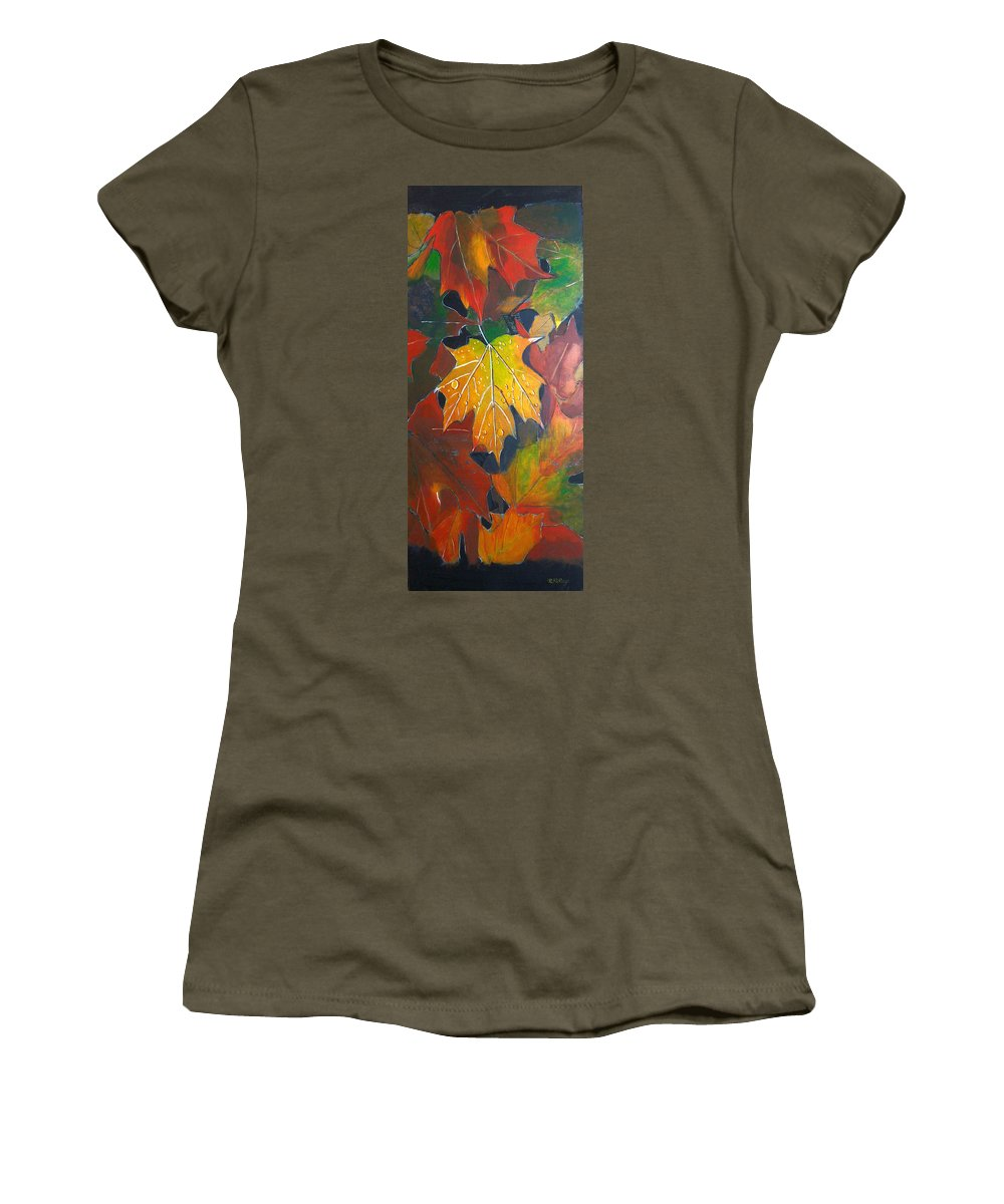 Autumn Leaves Women's T-Shirt featuring the painting Autumn Leaves by Richard Le Page