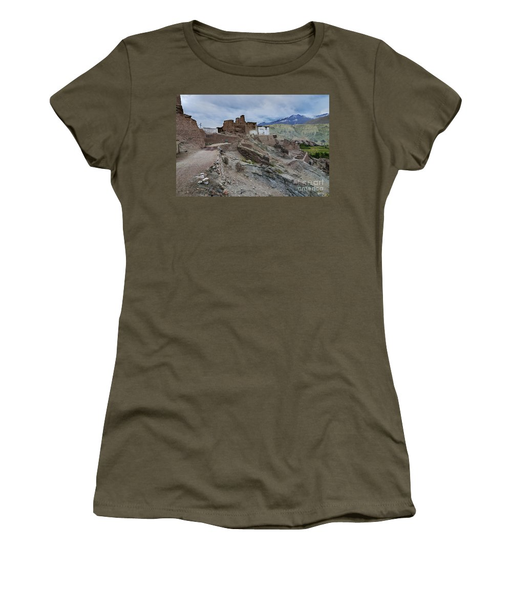 Ladakh Women's T-Shirt (Athletic Fit) featuring the photograph Basgo Monastery In Basgo Ladakh India by Rudra Narayan Mitra