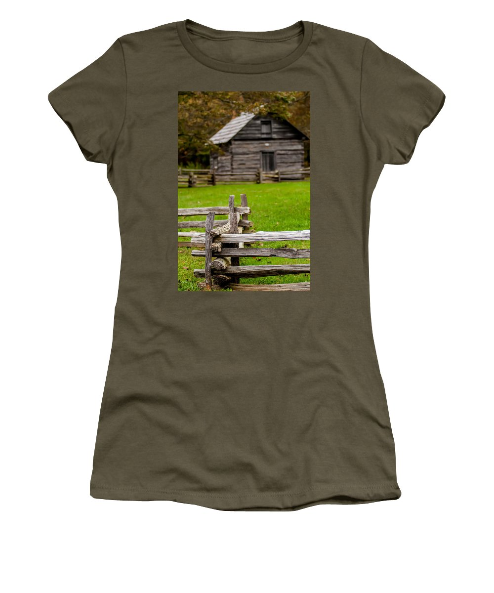 Architecture Women's T-Shirt featuring the photograph Beautiful Autumn Scene Showing Rustic Old Log Cabin Surrounded B by Alex Grichenko