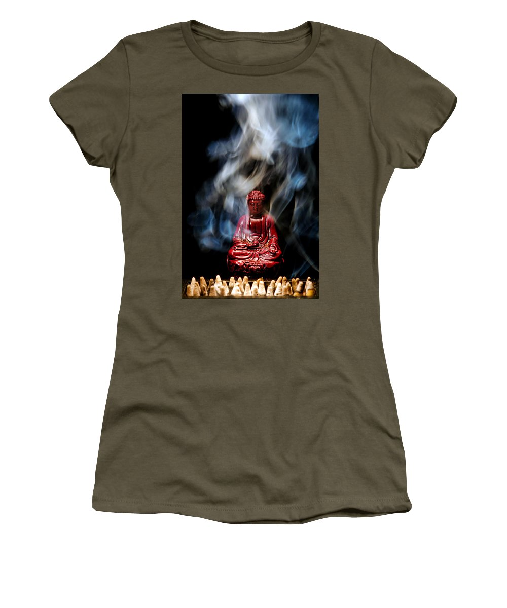 Buddha Women's T-Shirt featuring the photograph Buddha In Smoke by Olivier Le Queinec