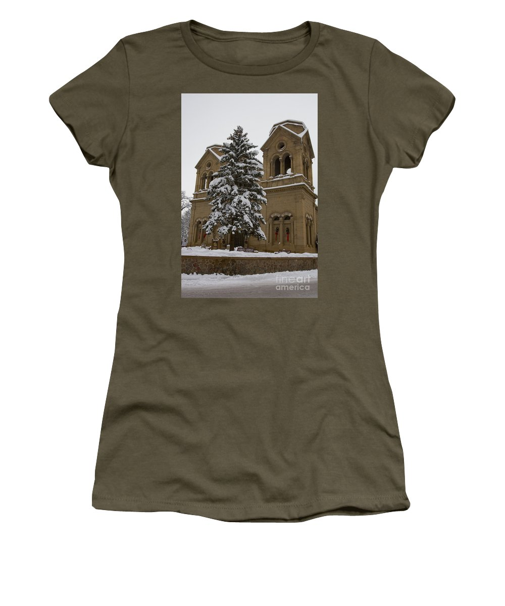 Cathedral Basilica Of St Francis Women's T-Shirt featuring the photograph Cathedral Basilica Of St Francis In Snow by Jason O Watson