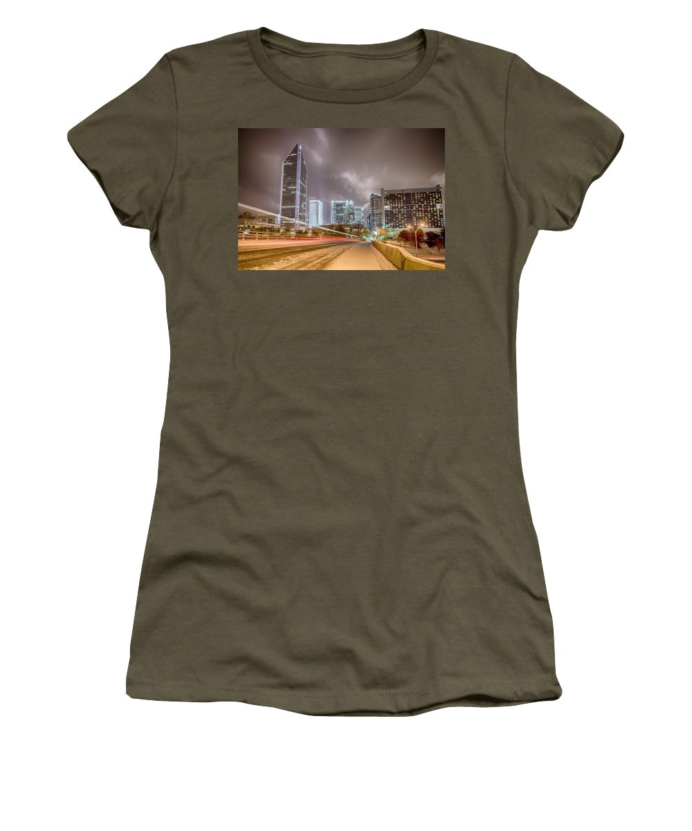 Charlotte Nc Women's T-Shirt featuring the photograph Charlotte Nc Usa Skyline During And After Winter Snow Storm In January by Alex Grichenko