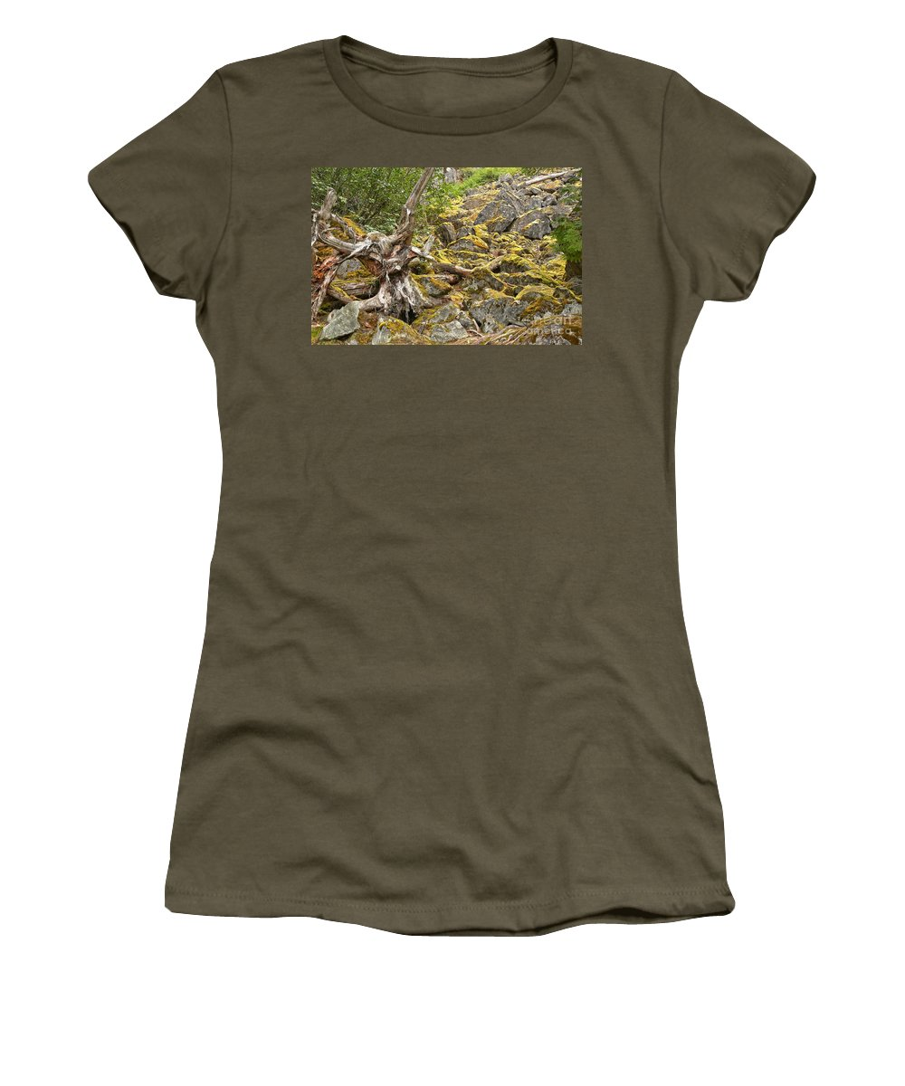 Cheakamus Rainforest Women's T-Shirt featuring the photograph Cheakamus Rainforest Debris by Adam Jewell