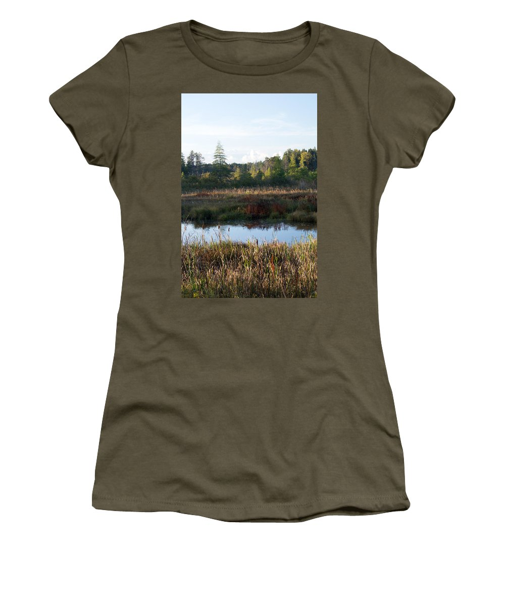 Wetland Women's T-Shirt (Athletic Fit) featuring the photograph Chill In The Air by Linda Kerkau