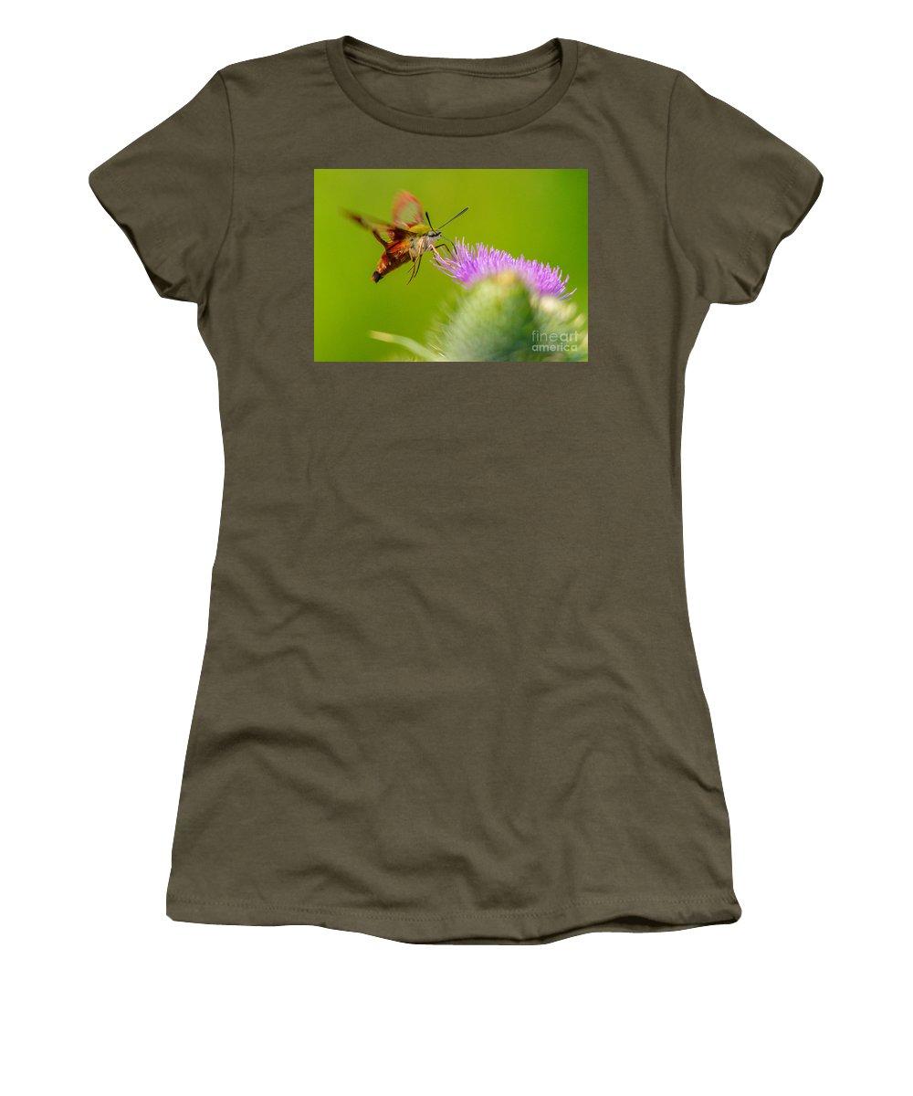 Landscape Women's T-Shirt featuring the photograph Clearwing Hummingbird Moth by Cheryl Baxter