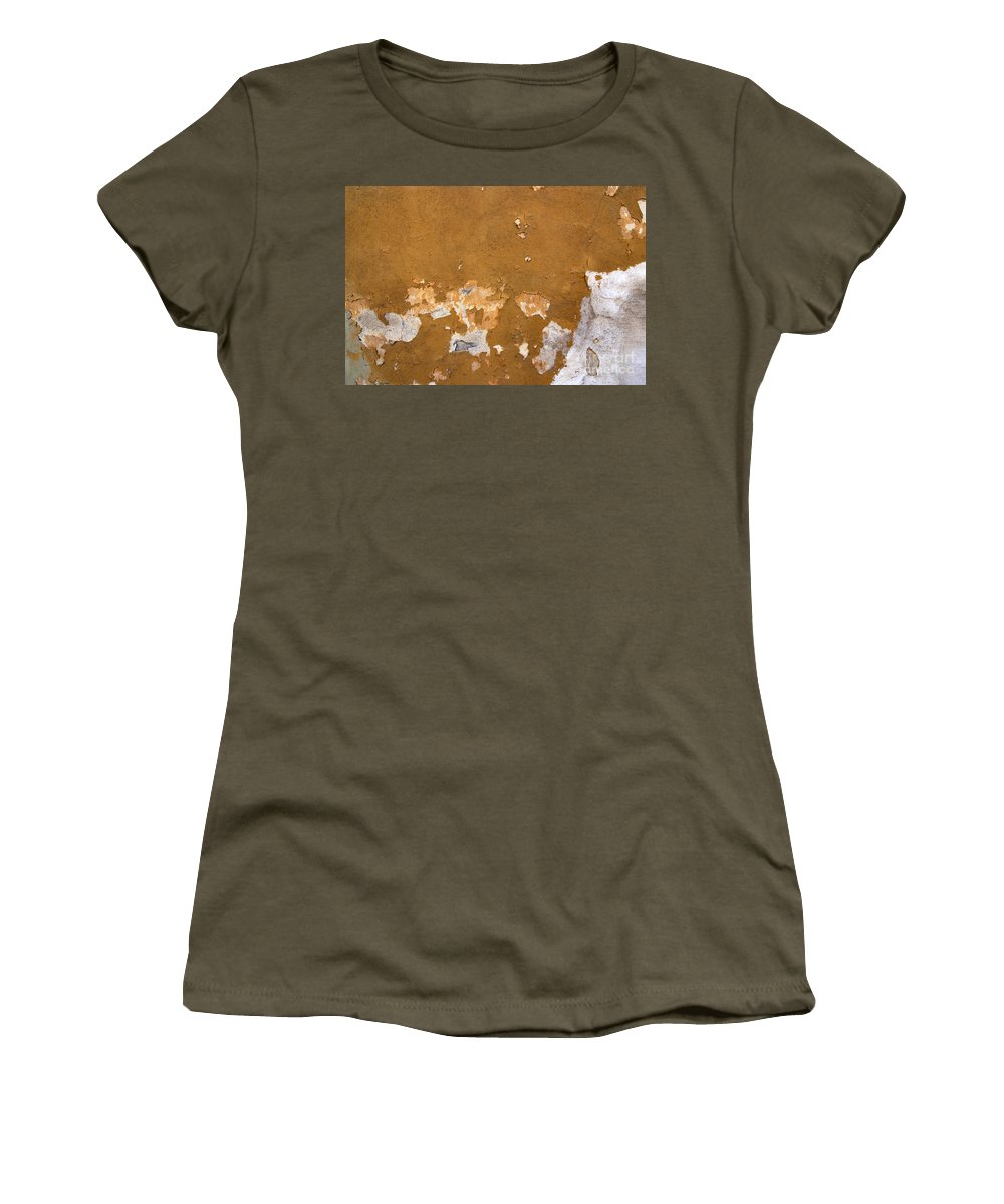 Plaster Women's T-Shirt featuring the photograph Cracked Stucco - Grunge Background by Michal Boubin