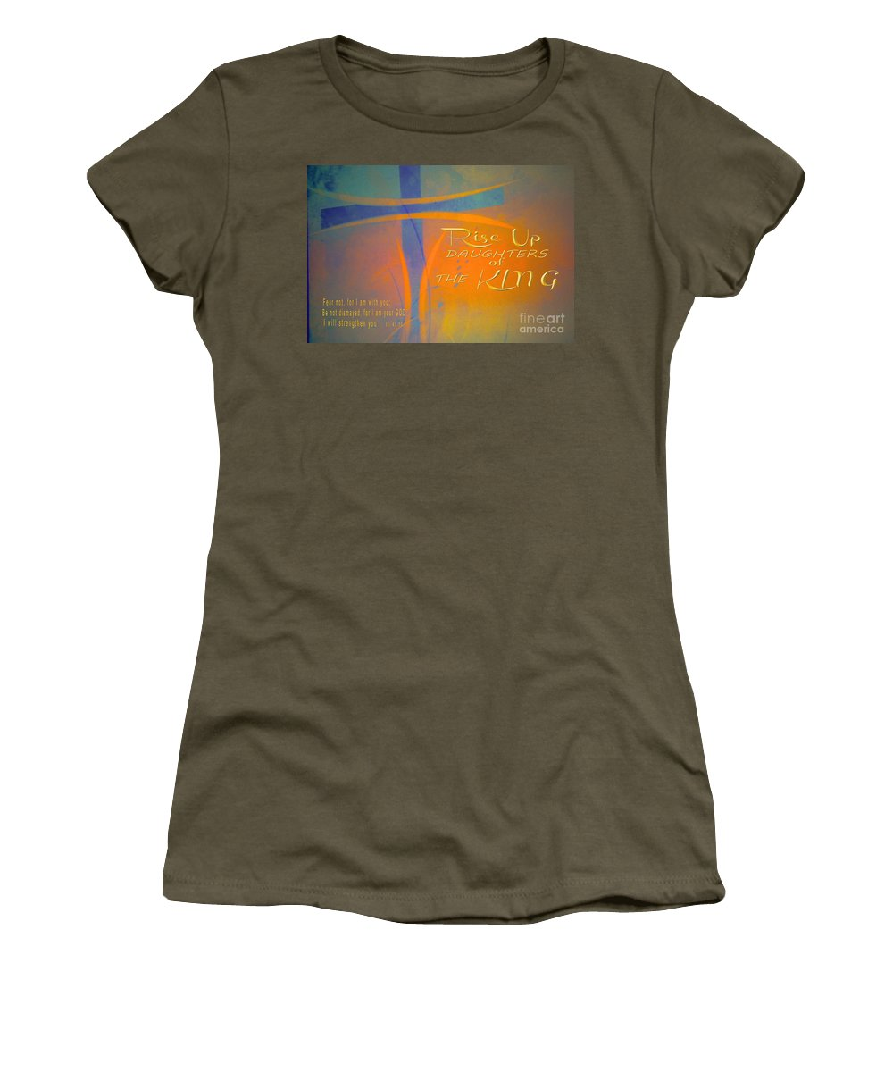 Cross Women's T-Shirt featuring the digital art Daughters Of The King by Beverly Guilliams