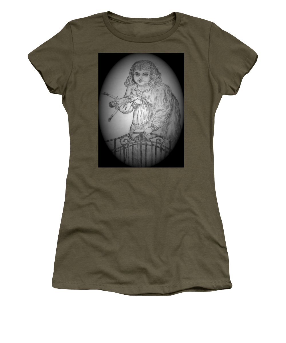 Girl Women's T-Shirt featuring the drawing Dollface by Michelle S White