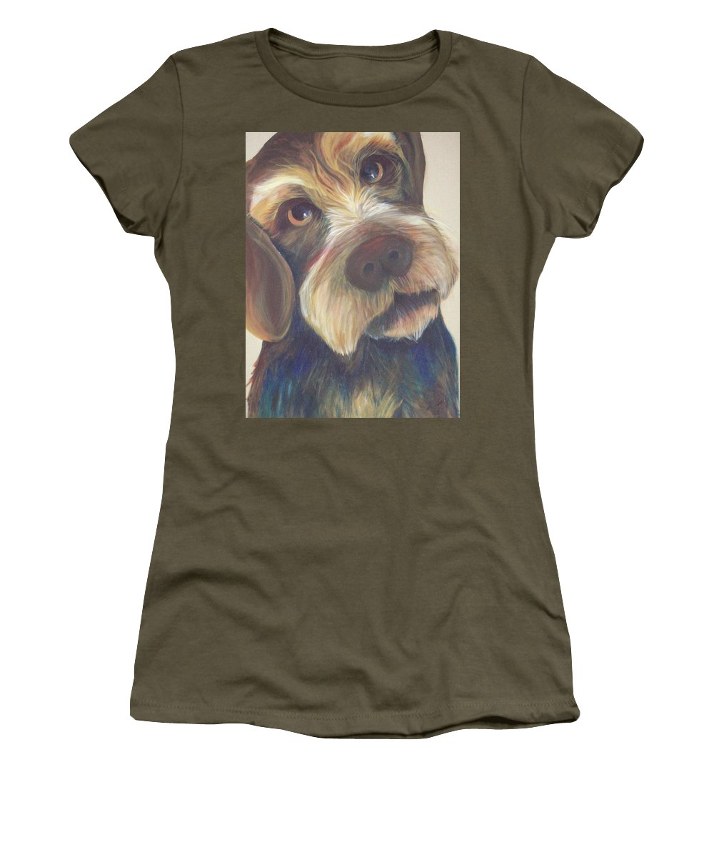 Drahthaar Women's T-Shirt featuring the painting Drahthaar Amadeus by Catt Kyriacou
