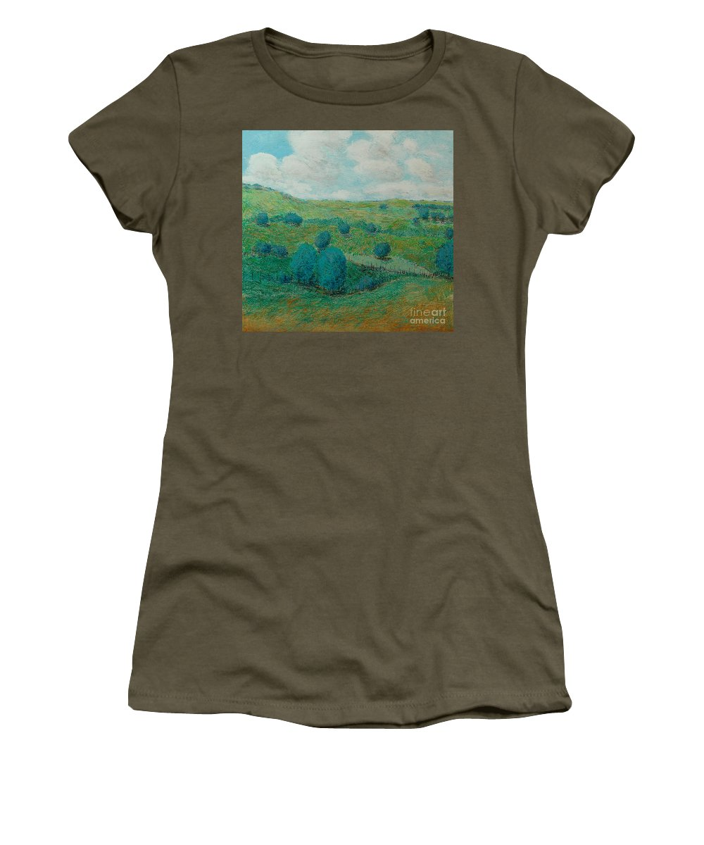 Landscape Women's T-Shirt featuring the painting Dry Hills by Allan P Friedlander