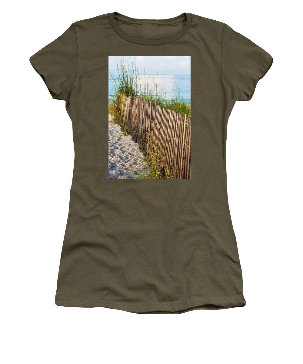 Barrier Women's T-Shirt featuring the photograph Dune Fence On Beach by Alex Grichenko
