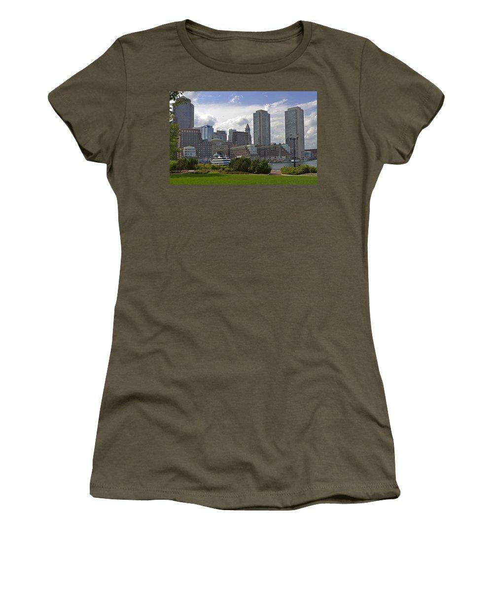 Boston Women's T-Shirt (Athletic Fit) featuring the photograph East Boston Harbor by Jatinkumar Thakkar