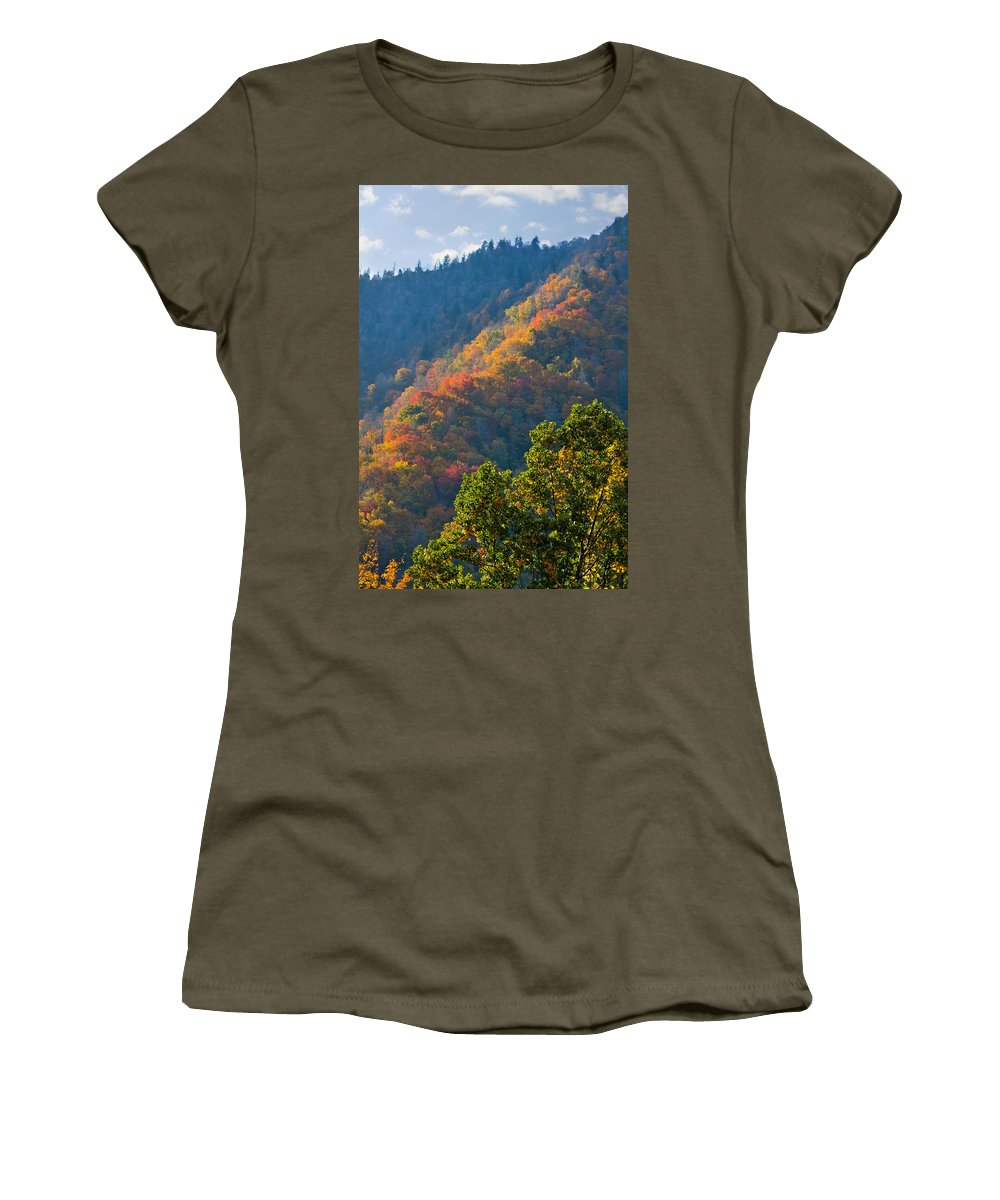Mountain Women's T-Shirt featuring the photograph Fall Smoky Mountains by Melinda Fawver