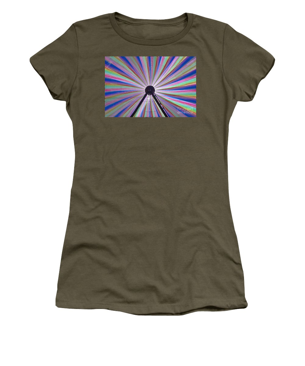 Americana Women's T-Shirt featuring the photograph Ferris Wheel And Fireworks by Jim Corwin