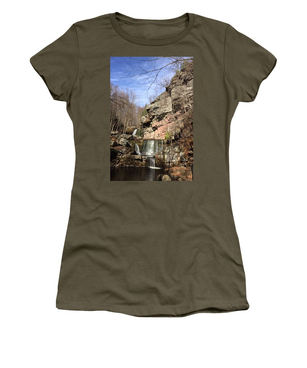 Fresh Women's T-Shirt (Athletic Fit) featuring the mixed media Fresh Water Streams Around Poconos Pa America Usa by Navin Joshi