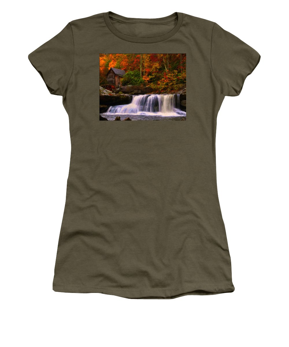 Glade Creek Grist Mill Women's T-Shirt (Athletic Fit) featuring the digital art Glade Creek Grist Mill by Chris Flees