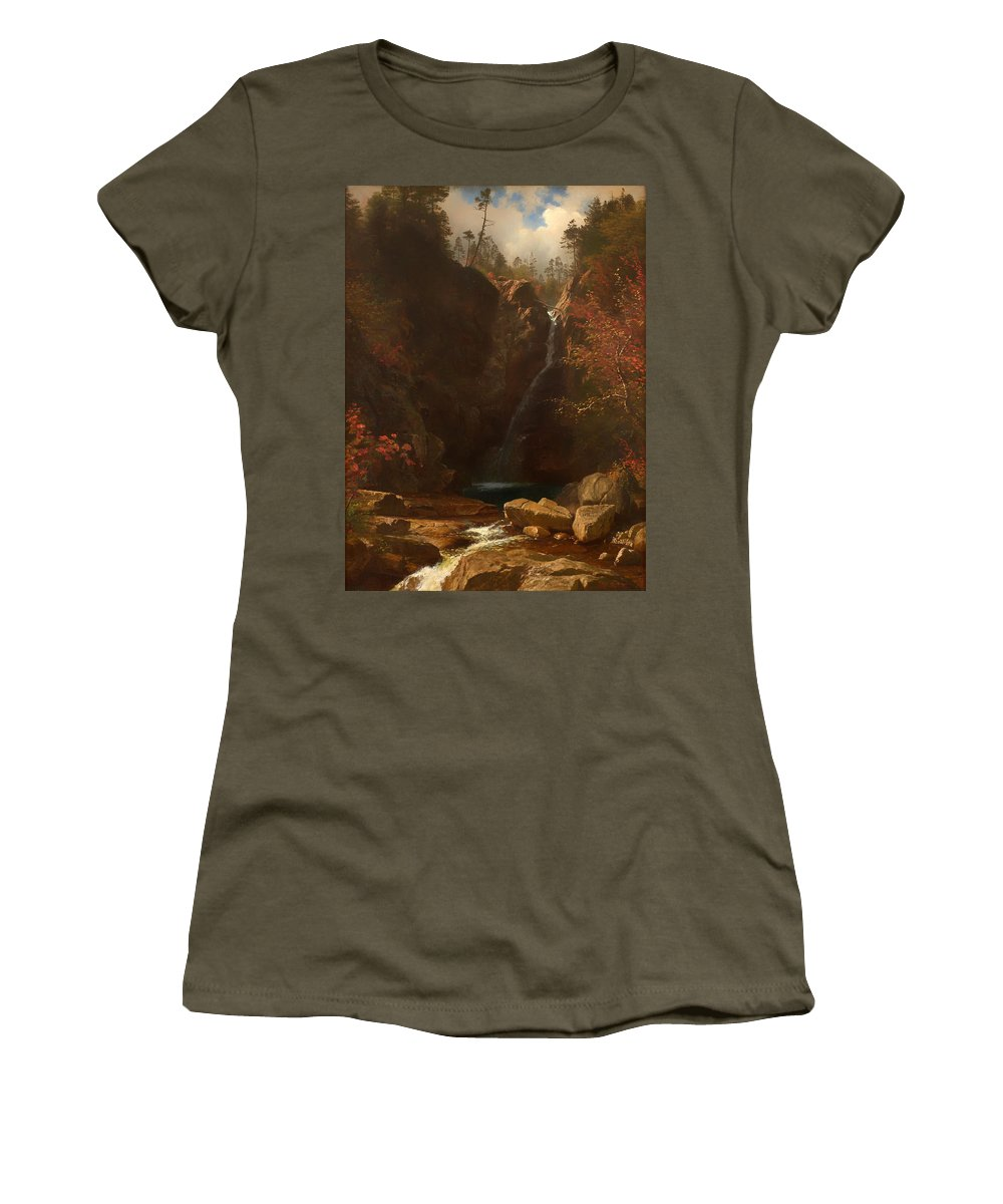 Painting Women's T-Shirt featuring the painting Glen Ellis Falls by Mountain Dreams