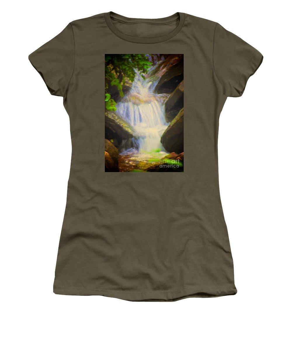 Glen Iris Women's T-Shirt featuring the photograph Glen Iris Waterfall by William Norton