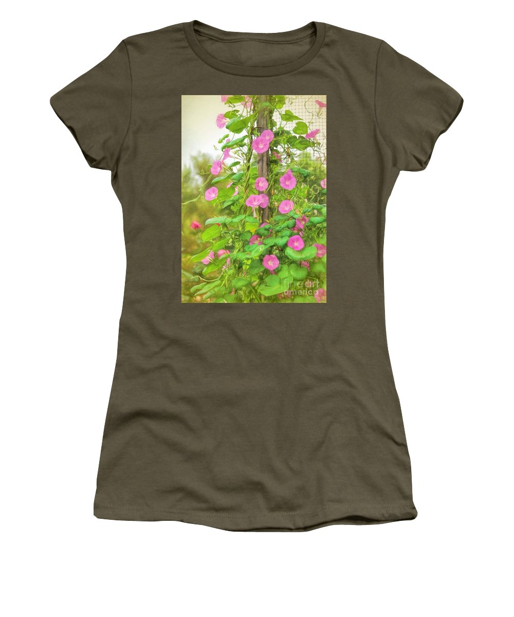 Flowers Women's T-Shirt featuring the photograph Good Morning by Peggy Hughes