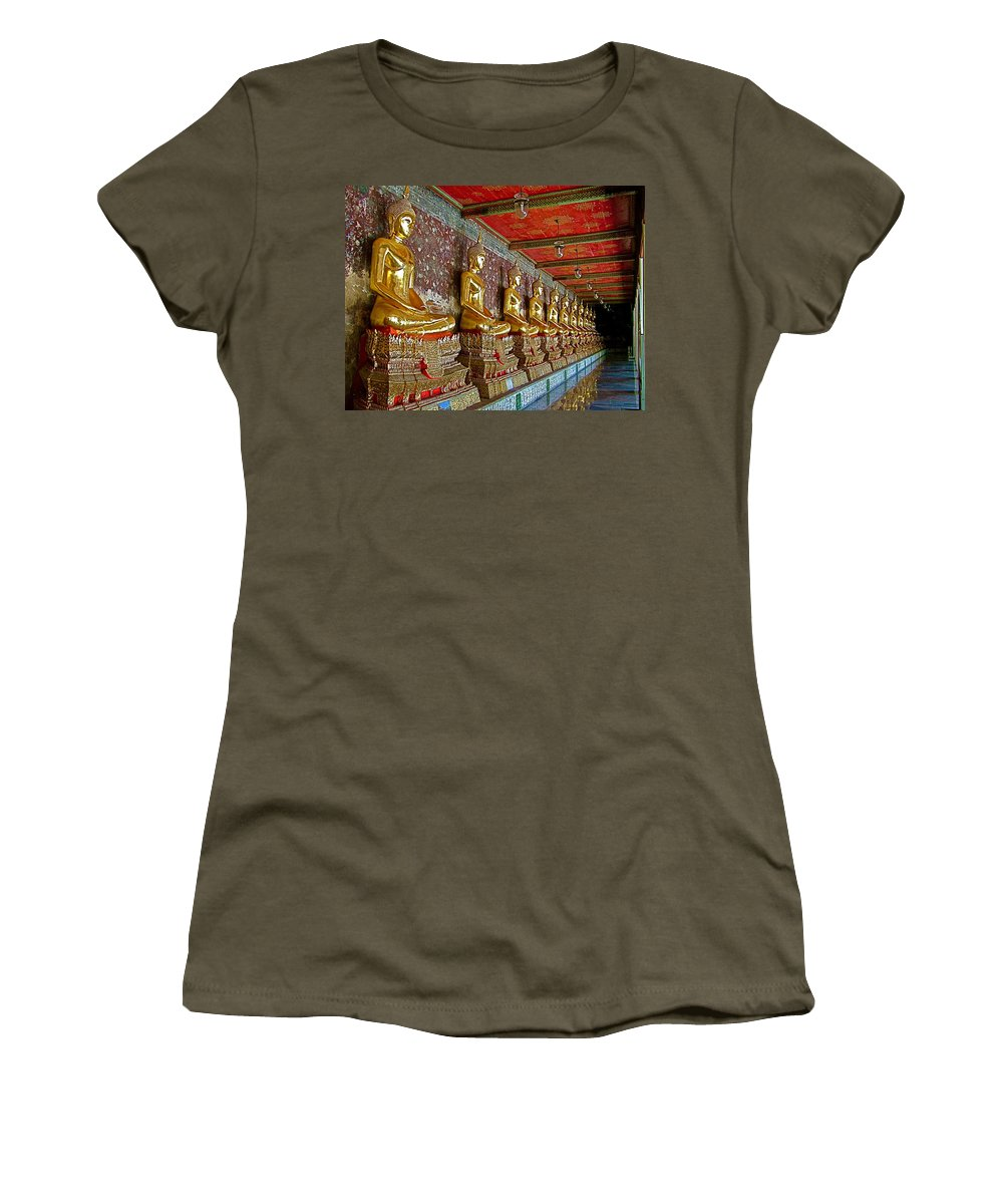 Hall Of Buddhas 2 In Wat Suthat In Bangkok Women's T-Shirt featuring the photograph Hall Of Buddhas At Wat Suthat In Bangkok-thailand by Ruth Hager