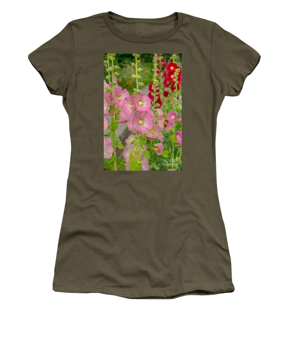 Country Women's T-Shirt featuring the photograph Hollyhocks by Cheryl Baxter