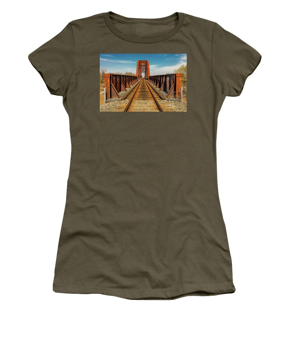 Photography Women's T-Shirt featuring the photograph Iron Railroad Bridge Over Water, Texas by Panoramic Images