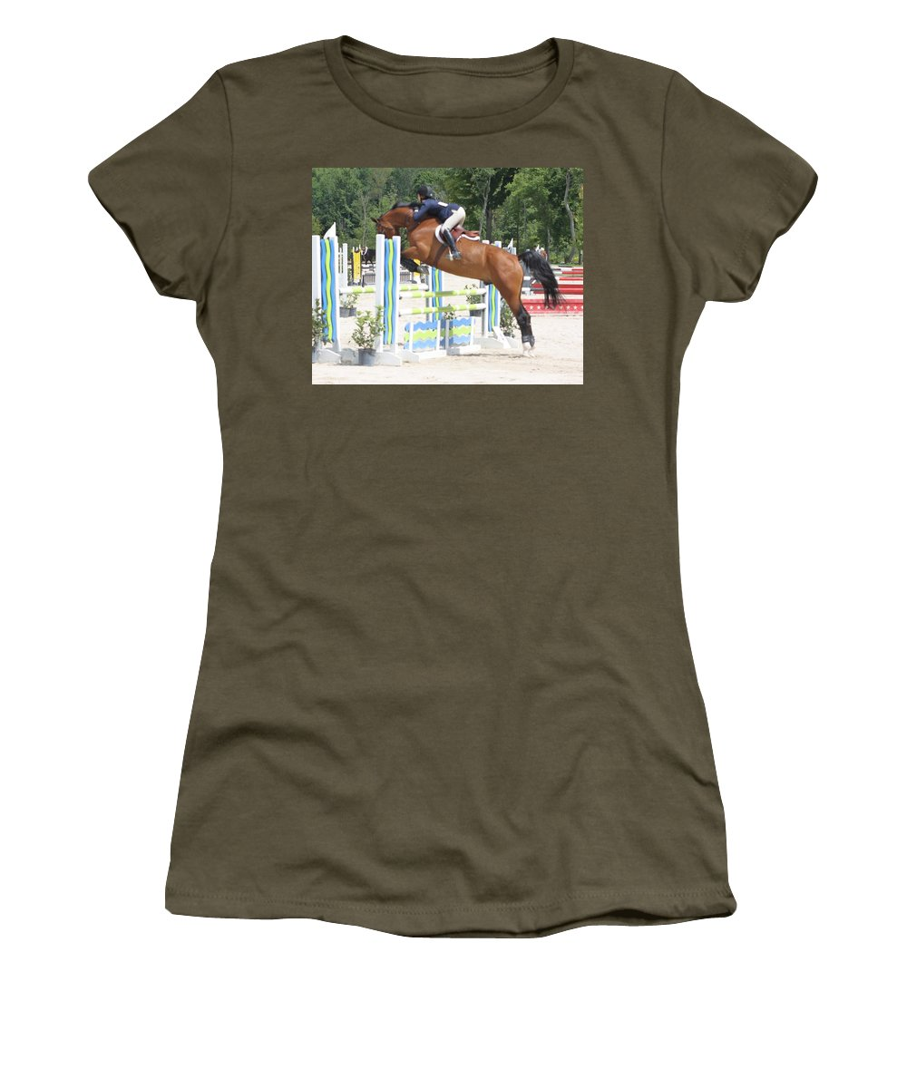 Horse Women's T-Shirt featuring the photograph Jump by Chuck Hicks